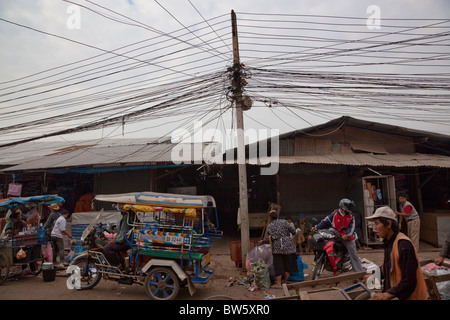 A confusion of telephone wires over Khua Din,the day market, in Vientiane, capital of Laos. - Stock Photo