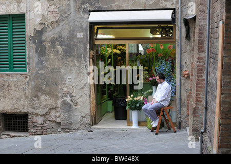 Man sitting in front of a flower shop in Siena, Tuscany, Italy - Stock Photo