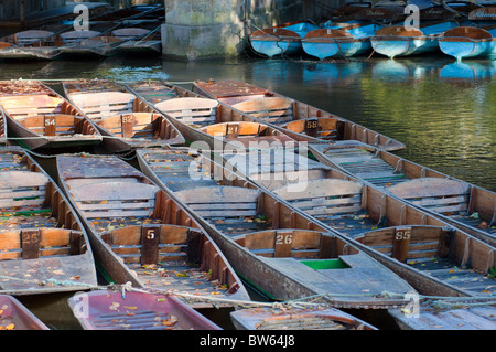 Punts on the river in Oxford, UK - Stock Photo