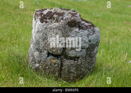 Ancient headstone in Cille bharra cemetery Isle of Barra outer Hebrides, Scotland. SCO 7004 - Stock Photo