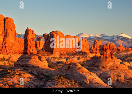 looking into the Windows Section from the Garden of Eden, Arches National Park, Utah - Stock Photo