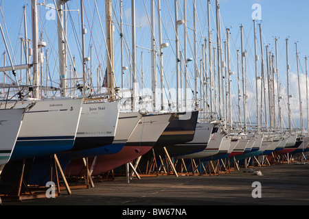 Large number of yachts stored in dry docks at Ardrossan, Scotland - Stock Photo