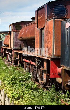 steam engines in sidings awaiting restoration.caledonian railways Montrose Scotland - Stock Photo