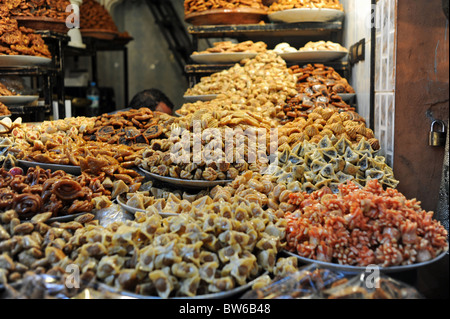 Marrakesh Morocco 2010 - Sweets and pastries on sale in the souks of the Medina or old walled city of Marrakech - Stock Photo