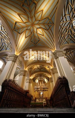 Nave of the Basilica Cathedral of Lima, Plaza Mayor, Lima, Peru. - Stock Photo