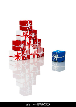 trees christmas season small red gift and one blue with reflection stock photo - Small Blue Christmas Tree