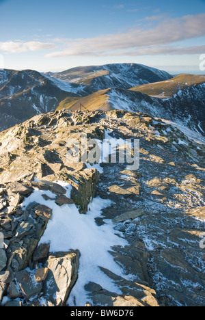 Winter view from Grisedale Pike towards Hopegill head and Grasmoor, Lake District Cumbria - Stock Photo