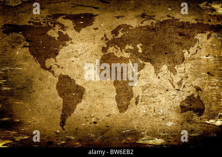 Background made with old textured paper with a world map - Map traced from the Nasa Website (http://earthobservatory.nasa.gov) - Stock Photo