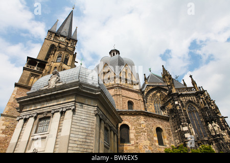 Aachen Cathedral, frequently referred to as the 'Imperial Cathedral' (in German: Kaiserdom), is a Roman Catholic - Stock Photo