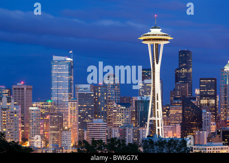 Seattle skyline at dusk from Kerry Park, USA - Stock Photo