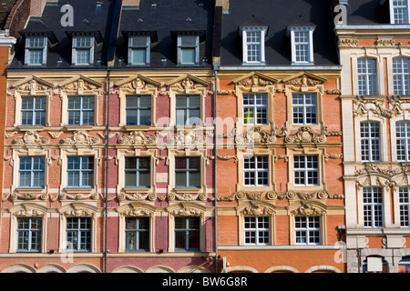 Historical houses at the Grand Place in Lille, France - Stock Photo
