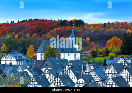 Half-timbered houses in Freudenberg, Germany - Stock Photo