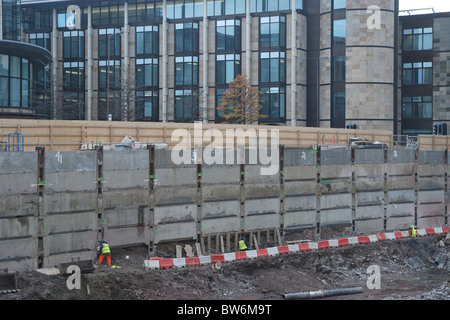Construction site in  the financial district of Edinburgh, Scotland, UK. - Stock Photo
