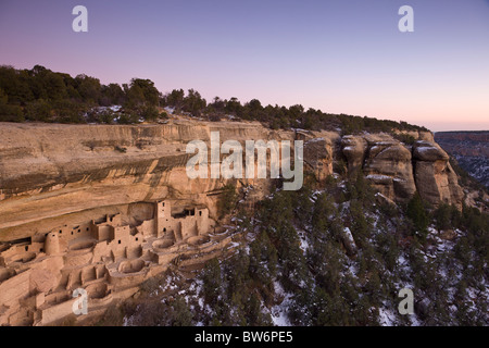 Dusk at the Cliff Palace cave dwelling during winter in Mesa Verde National Park, Colorado, USA. - Stock Photo