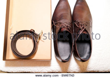 Men's leather shoes and belt - Stock Photo