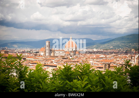 Overview of Firenze from Piazzale Michelangelo Italy - Stock Photo