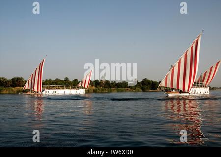 Egypt.  River Nile.  Two dahabiyas sailing north of Kom Ombo. - Stock Photo