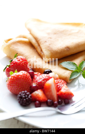 pancakes with fresh  fruit - Stock Photo