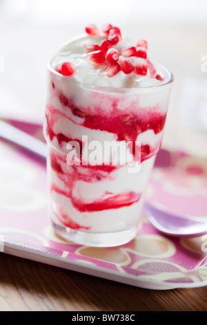 yogurt with pomegranate - Stock Photo