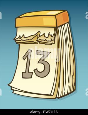 Illustration of thirteenth on wall calendar - Stock Photo