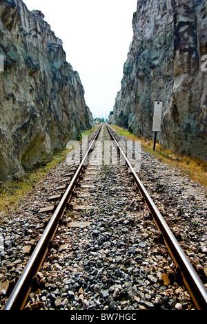 Highland railway in the Rhodope Mountains. Associated with urban Karzheli  - Haskovo Bulgaria. - Stock Photo