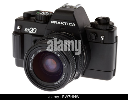 praktica bx20 35mm slr film camera manufactured in east germany in the 1980s with lens - Stock Photo
