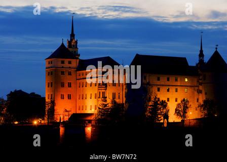 Torgau Burg Nacht - Torgau castle night 01 - Stock Photo