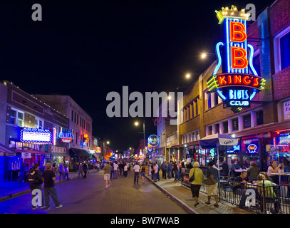 Beale Street at night, Memphis, Tennessee, USA - Stock Photo