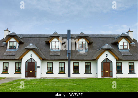 Repro thatched cottages in new development in County Wexford, Ireland. EU funds led to 'Celtic tiger' investment - Stock Photo