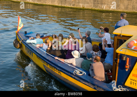 People in harbour ferry, Floating Harbour, Bristol, UK - Stock Photo
