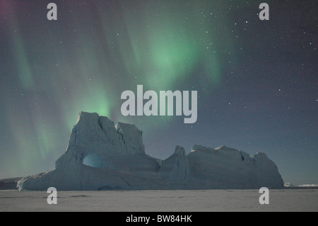 Southern lights, Aurora australis, over antarctic landscape, Antarctica - Stock Photo