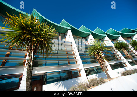Ultra modern award winning Nautilus apartments at Westward Ho! Devon, UK - Stock Photo