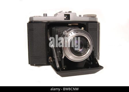 old photo camera isolated on white background - Stock Photo