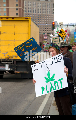 People rally for the legalization of medical marijuana in Boise, Idaho, USA. - Stock Photo