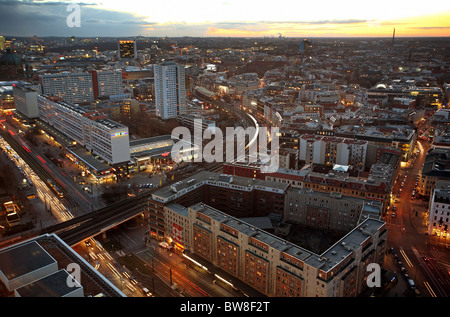 City panorama at dawn in front of Karl-Liebknecht-Strasse, Berlin, Germany - Stock Photo