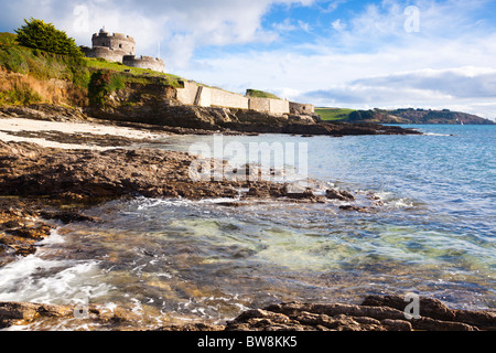 St Mawes Castle Cornwall from the beach below - Stock Photo