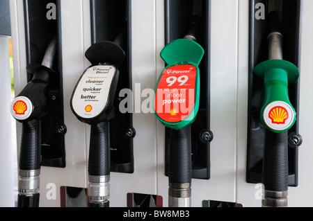 Petrol Pumps at filling station - Stock Photo
