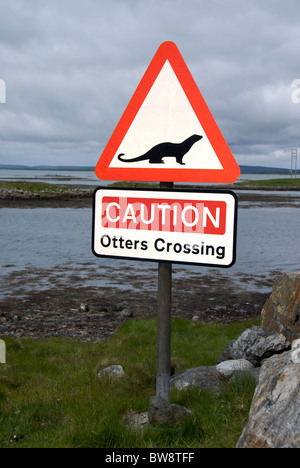 Hebridean Causway road sign warning motorists to watch out for Otters  SCO 6491 - Stock Photo