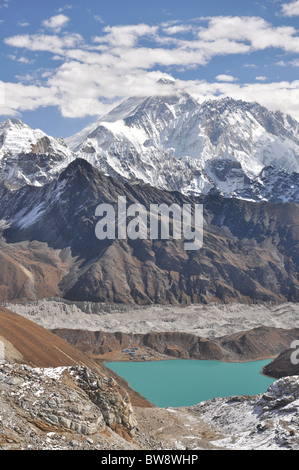 Mount Everest and Gokyo Lake, Himalaya, Nepal - Stock Photo