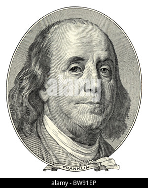 Portrait of Benjamin Franklin as he looks on one hundred dollar bill obverse. NATIVE SIZE NOT UPSCALE. - Stock Photo