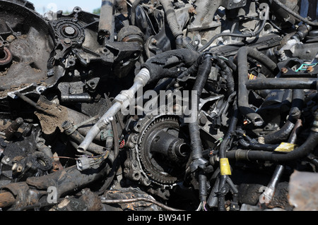 A selection of scrap metal car parts, pipes and tubing - Stock Photo