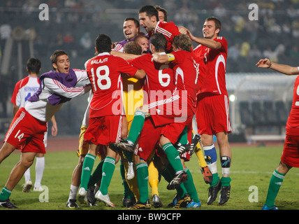 Hungary players celebrate after defeating Costa Rica on penalty kicks to win third place at the 2009 FIFA U-20 World - Stock Photo