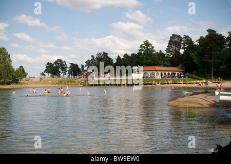 swedish resort near vastervik beach lake river baltic sea swimming swedish swedes swede summer summertime time warm - Stock Photo