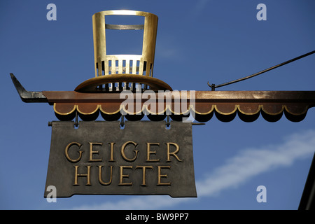 Geiger Hüte Shop Sign, Salzburg, Austria - Stock Photo