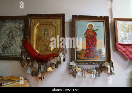 Inside an Orthodox church in Karpathos - Stock Photo