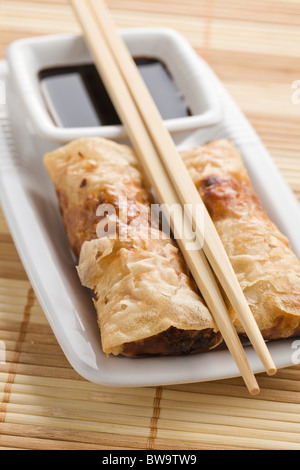spring rolls on the reed placemats - Stock Photo
