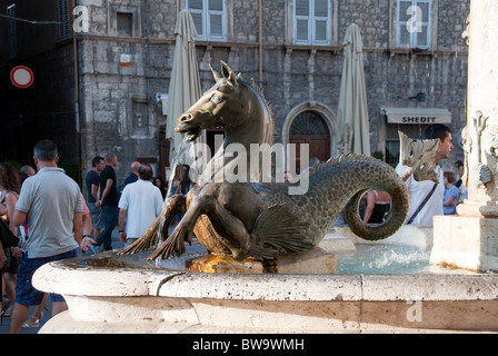 one of the fountains in Piazza Arringa Ascoli Piceno, Le Marche Italy - Stock Photo