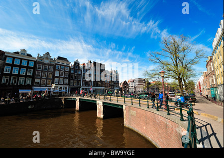 Prinsengracht Amsterdam in spring, The Netherlands - Stock Photo