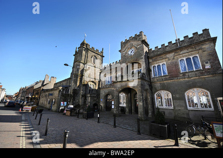 Shaftesbury Town Hall and St Peter's church (left) in the town centre Dorset UK - Stock Photo