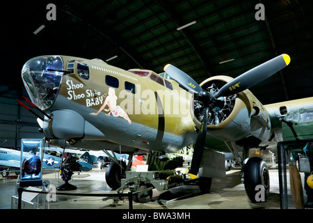 Shoo Shoo Baby is the name of a B-17 Flying Fortress in World War II - Stock Photo